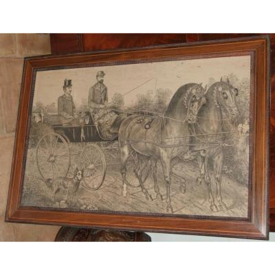 Gravure Equestre & Publicitaire ,   Belgique  Charleroi  1896