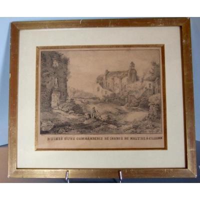 Ruines Romantiques à Clisson. Lavis 1846
