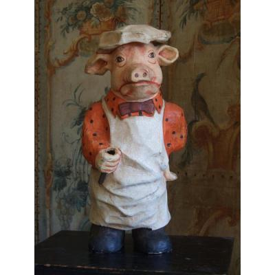 Cochon Cuisinier / Décoration de Charcuterie ou de Restaurant en Papier Mâché
