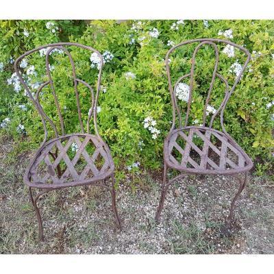 Deux Chaises En Fer De Jardin d'Hiver  Epoque Napoléon III