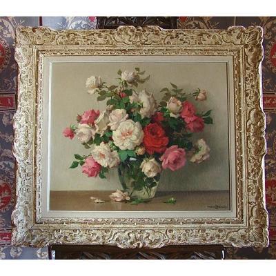 Vase De Roses Par Maurice Décamps