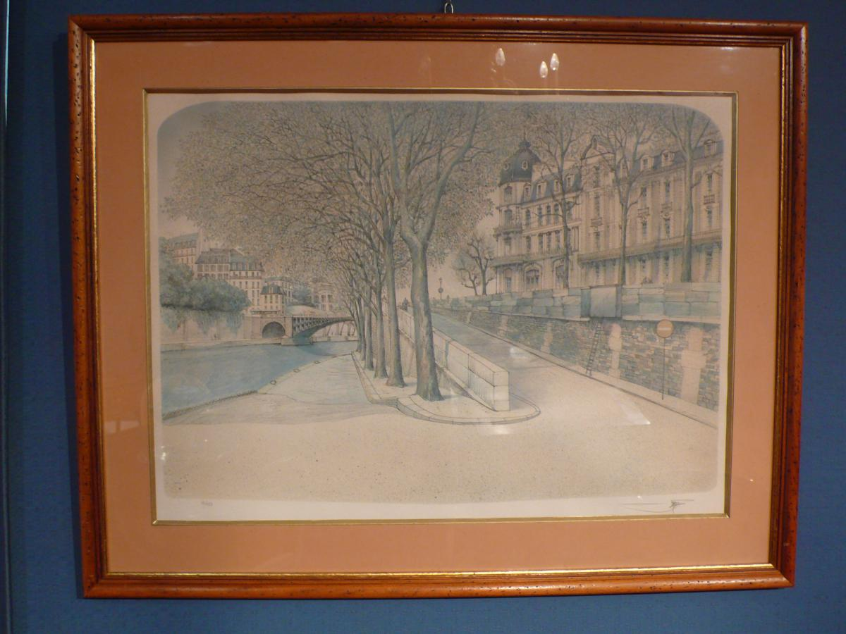 Engraving Quai De Seine In Paris.