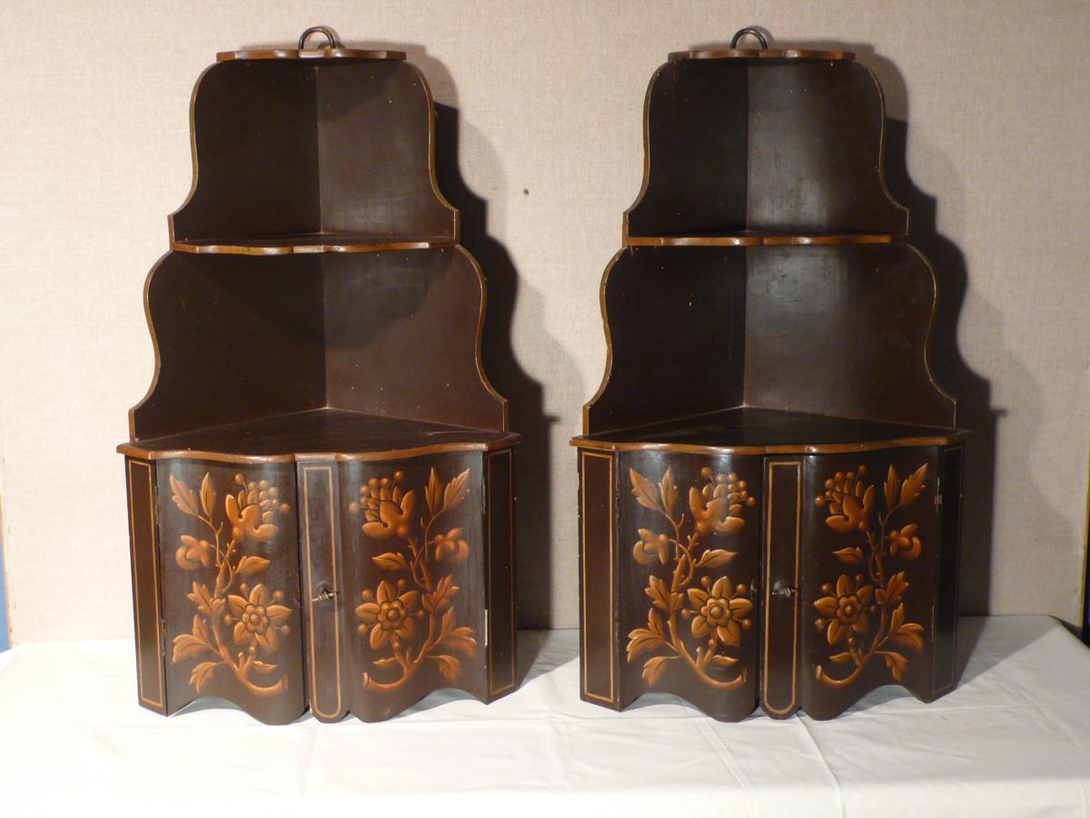 Pair Of Painted Angle Shelves