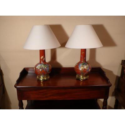 Paire De Lampes à Huile En Porcelaine