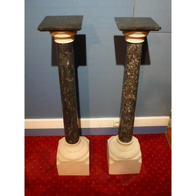 Pair Of Columns In Marble And Stone.