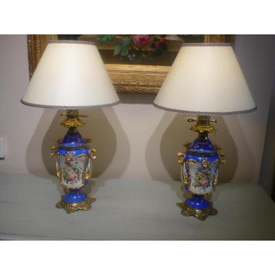 Pair Of Porcelain Lamps Napoleon III