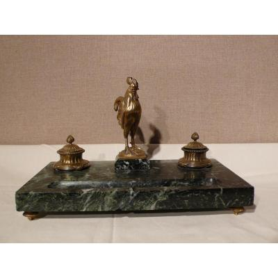 Encrier En Marbre Et Bronze Doré Signé G. Quesnel.