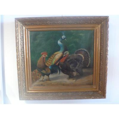 Table Representing A Peacock, A Rooster And A Turkey Signed Jules Bracq.