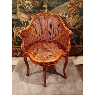 Office Chair Cane Beech Louis XV Style