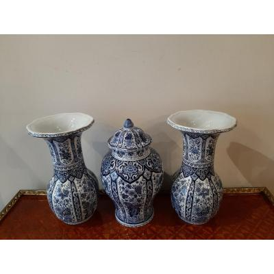 Pair Of Vases And Covered Pot In Delft Earthenware.