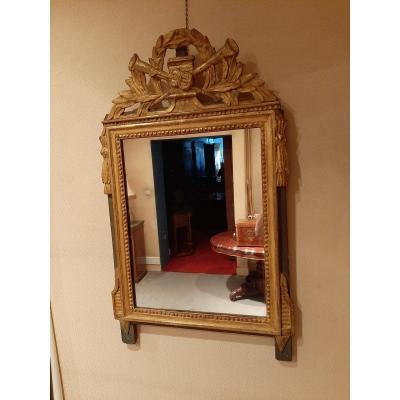Miroir Louis XVI En Bois Doré D'époque XVIIIème Siècle.