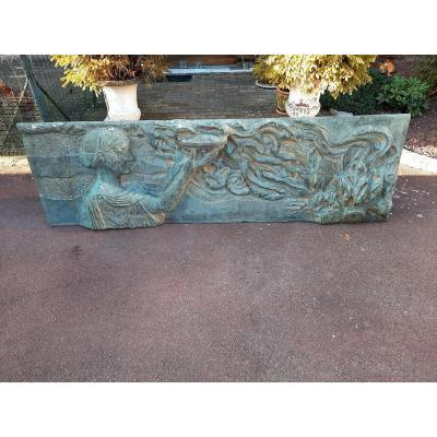 Bas-relief In Bronze Representing A Greek Or Roman Character, Art Deco Style.