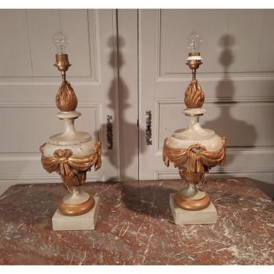 Pair Of Carved Lamps, Rechampies In Gray And Gold From The XIXth Century.