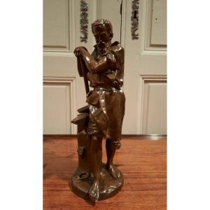 Sculpture En Bronze Représentant Un Forgeron Signé Carlo Nicoli D'époque XIXème Siècle.