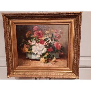Tableau De Fleurs D'époque XIXème Siècle Signé H. Cauchois.