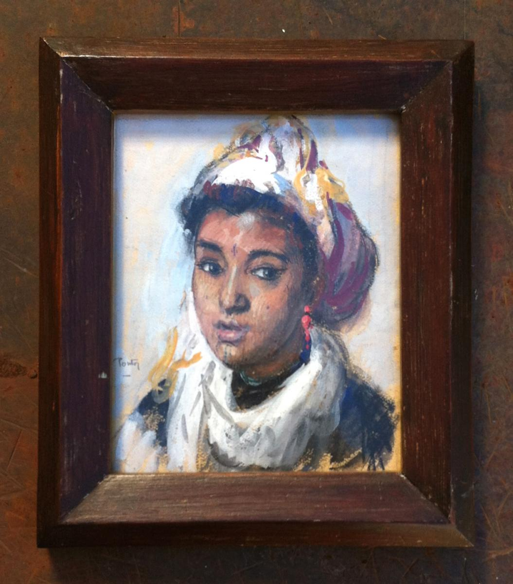 Portrait Of Young Girl Berber, Gouache Signed Pontoy Henry