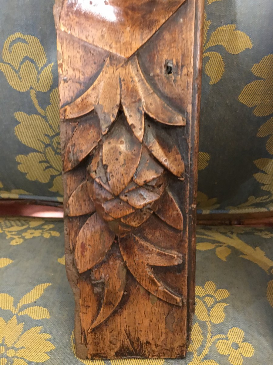 Pair Of High Period Carved Wood Elements-photo-1