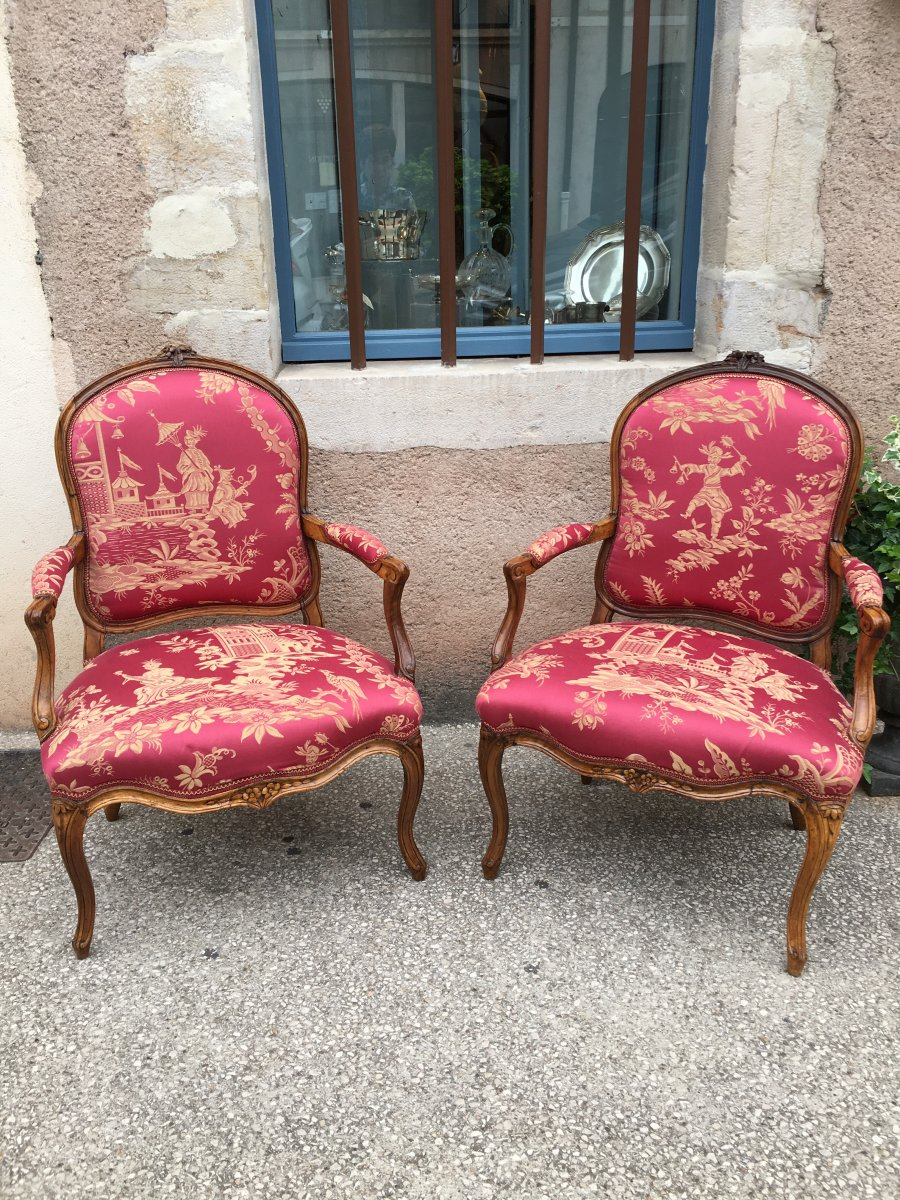 Pair Of Walnut 18 Eme Flat Back Armchairs