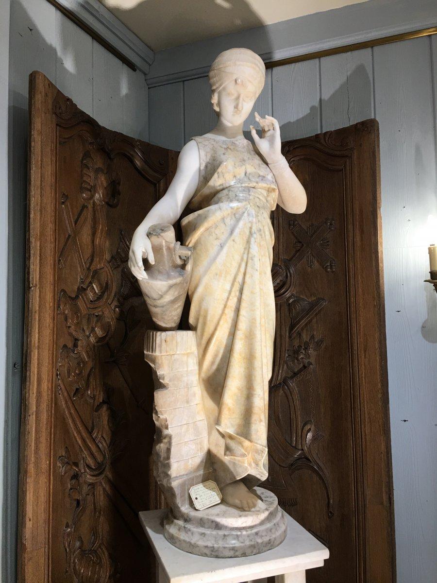 Sculpture Déesse Hébé Albâtre Et Marbre Pugi 19 Eme