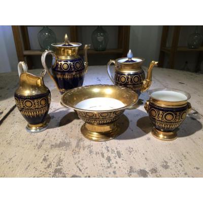 Service Porcelaine Empire Bleu Et Or