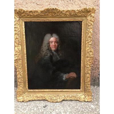 Portrait D'homme En Perruque Début 18 Eme