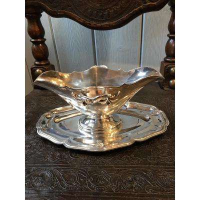 Sauceboat Sterling Silver Armorial 19 Eme