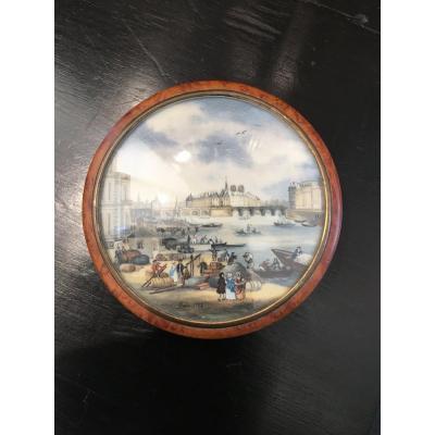 Boîte Ronde Loupe De Thuya Et Miniature 18 Eme