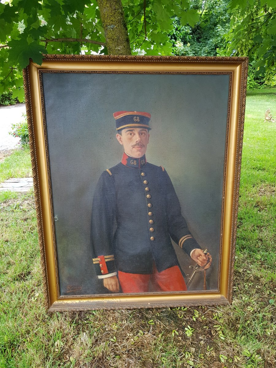 Portrait Of A Soldier Dated 1915, Signed Renaux