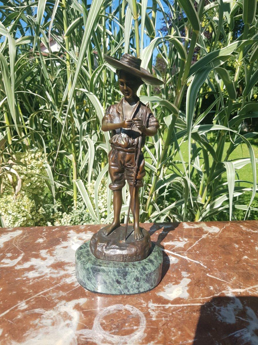 J. Bastiane, Bronze Statue Representing A Happy Fisherman