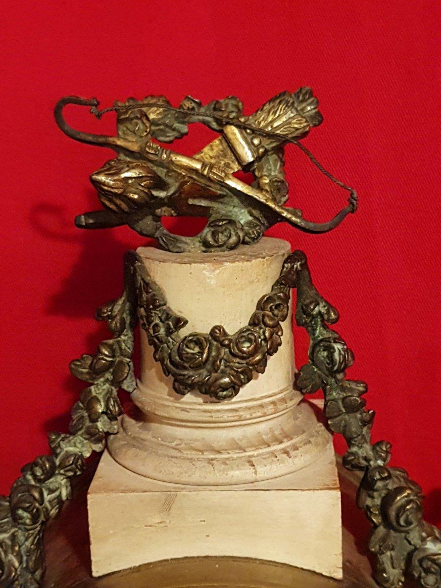 Pendule Louis XVI, Bois Patiné Et Bronze-photo-5