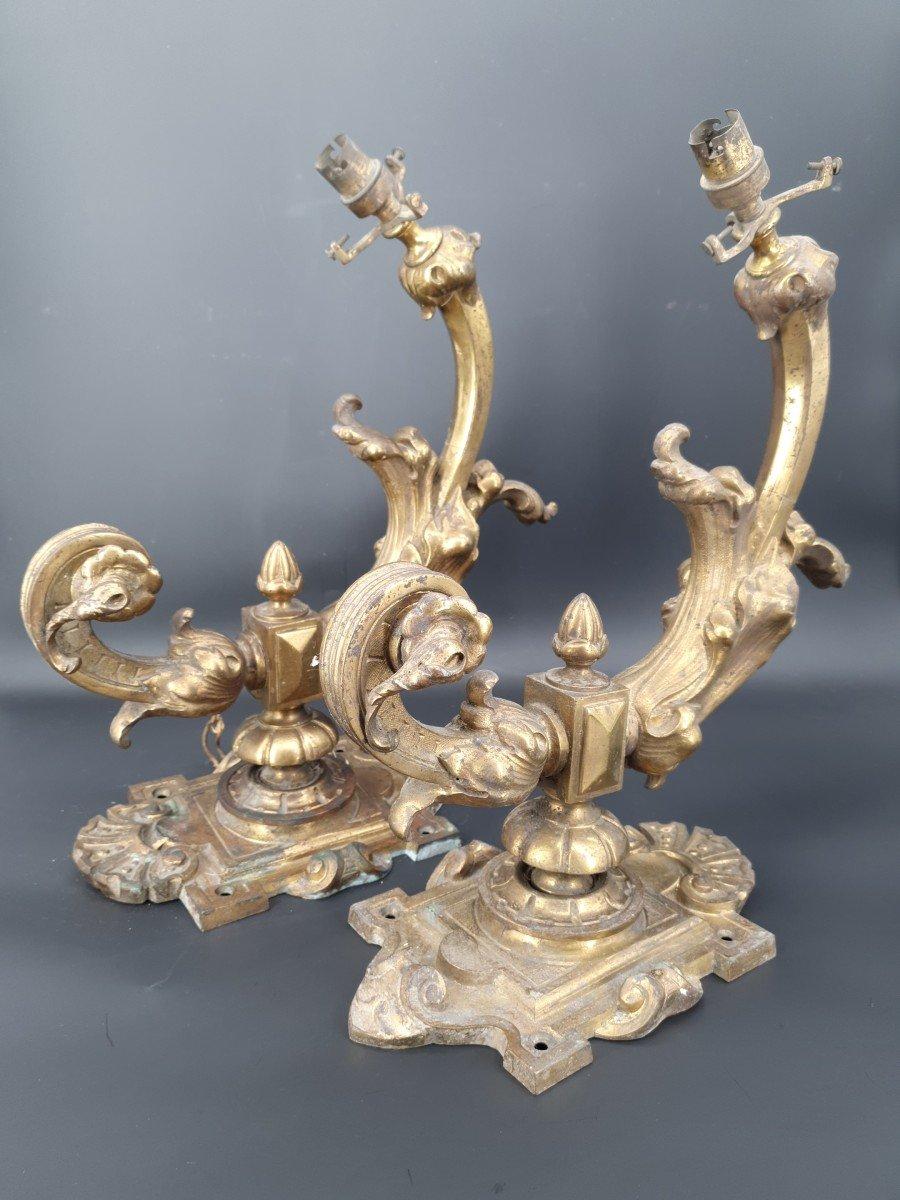 Pair Of Wall Lamp In Bronze Napoleon III
