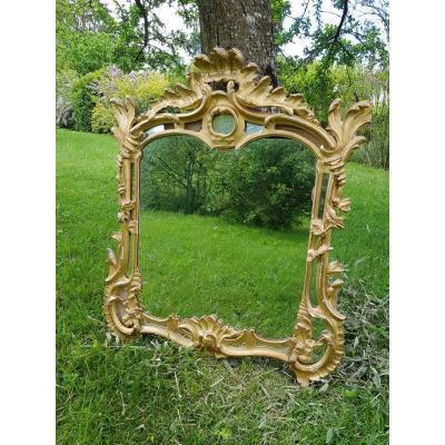 Miroir à parcloses bois doré époque XVIII ème s