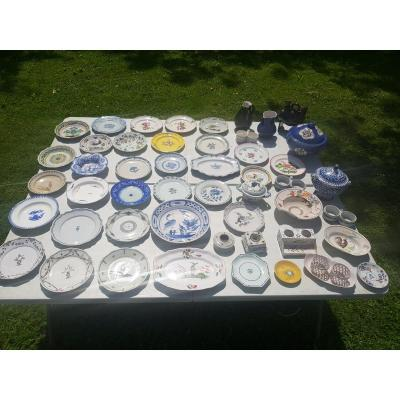 Collection Of 49 Old Earthenware XVIII Th S, XIX Th