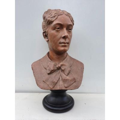 Buste De Femme En Terre Cuite, XIX ème S
