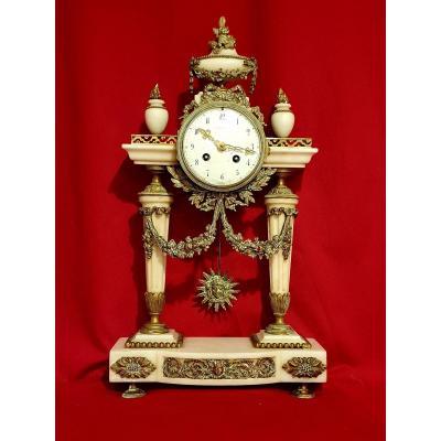 Pendule Portique En Marbre Et Bronze Style Louis XVI Napoléon III