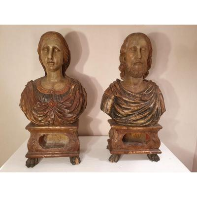 Pair Of Reliquary Bust Polychrome Wood XVIII S