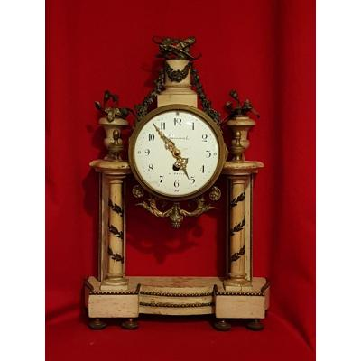 Louis XVI Clock, Patinated Wood And Bronze
