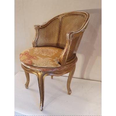 Napoleon III Golden Wood Office Chair