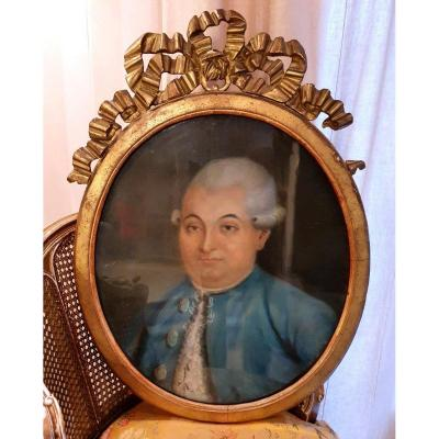 Portrait Of A Quality Man, XVIIIth S, Golden Wood Frame