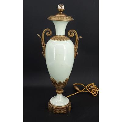Celadon Porcelain Lamp Base, Louis XVI Bronze Frame