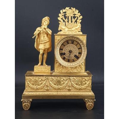 Empire Clock In Gilt Bronze, Height 27 Cm
