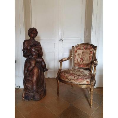 Large Carved Wood Sculpture Representing A Mother And Her Child
