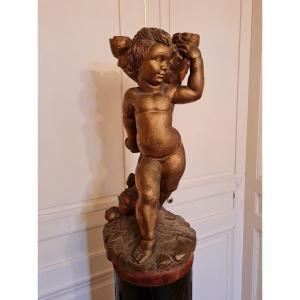 Angelot En Bois Sculpté XIX ème S
