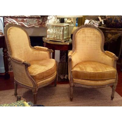 Pair Of Louis XVI Style Bergeres.