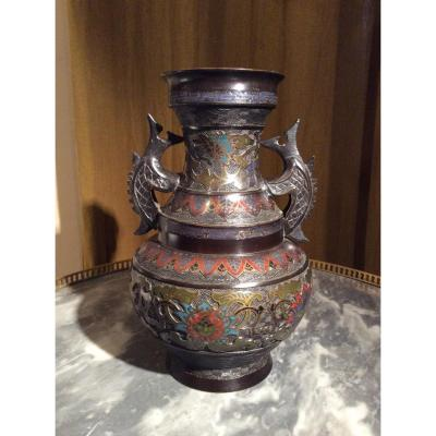 Chinese Vase Chiseled Bronze And Cloisonné Enamels.