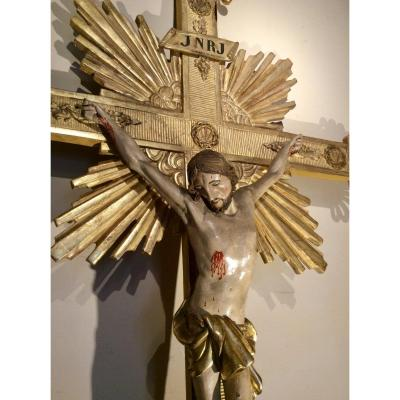 Large Processional Cross In Golden Wood.