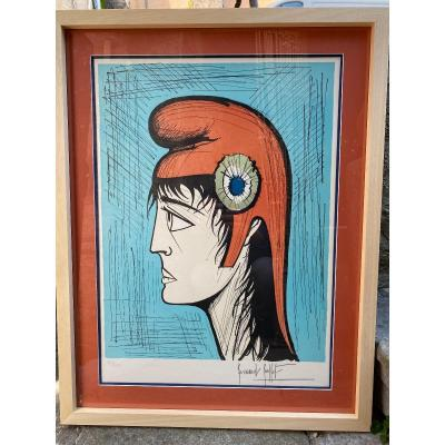 Bernard Buffet (1928-1999) Marianne, lithograph numbered and signed by the artist. In a perfect state.
