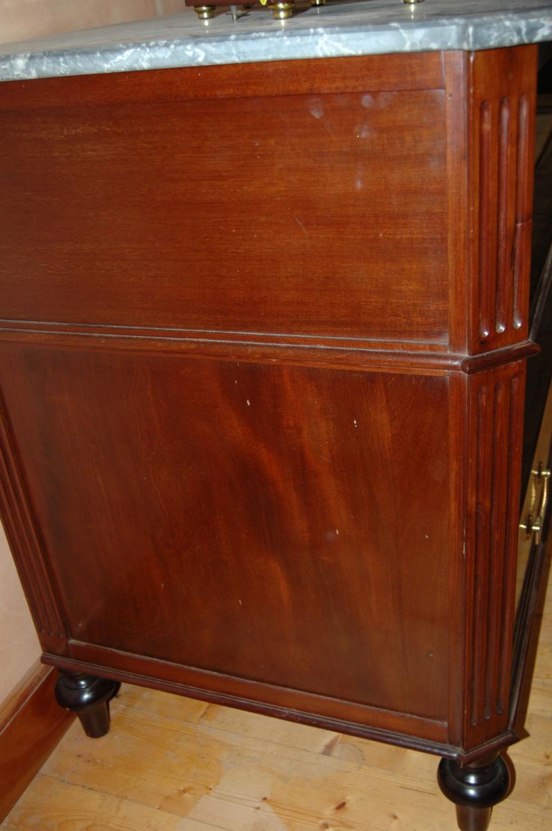 Commode Louis XVI en acajou et placage d'acajou-photo-6