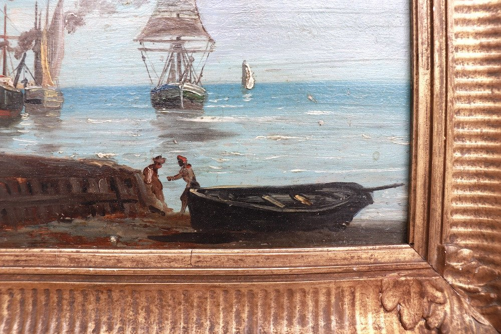 Port de pêche en Normandie. Bateaux et pêcheurs. XIX° Siècle. -photo-2