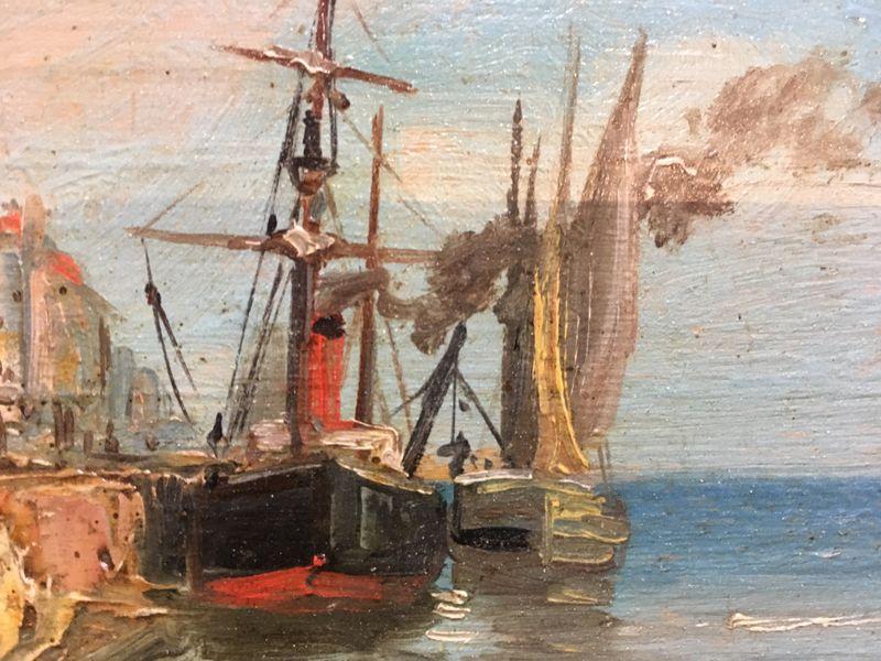 Port de pêche en Normandie. Bateaux et pêcheurs. XIX° Siècle. -photo-1